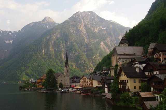 The classic Hallstatt postcard view.