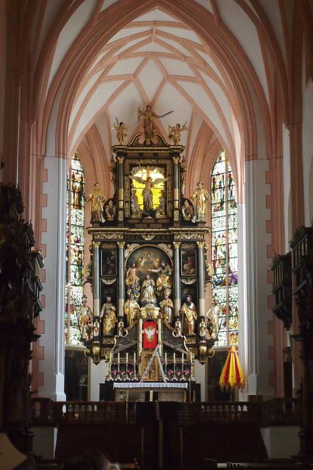 Inside the church at Mondsee where the wedding of Captain von Trapp and Maria took place. Mass was on so I had to discreetly zoom in and take this shot.